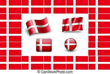 旗, セット, denmark., アイコン