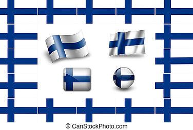 旗, セット, finnland., アイコン