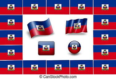 旗, セット, haiti., アイコン