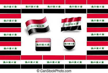 旗, セット, iraq., アイコン