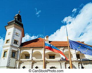 旗, タワー, maribor, 城