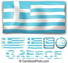 旗, デザイン, 別, ギリシャ