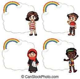 旗, デザイン, 幸せ, 子供
