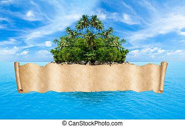 旗, トロピカル, 地図, 海賊, 海洋, 上に, 島