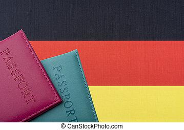 旗, ドイツ, 2, 背景, passports.