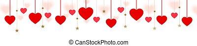旗, バックグラウンド。, デザイン, ベクトル, 掛かること, 装飾用である, 多数, カード, 挨拶, 赤, ウェブサイト, 心, 横
