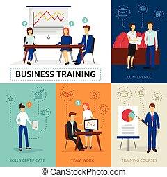 旗, ビジネス 訓練, 概念, 構成
