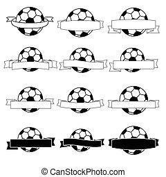 旗, フットボール, 黒, リボン