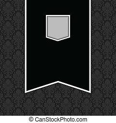 旗, フレーム, ベクトル, 黒い背景