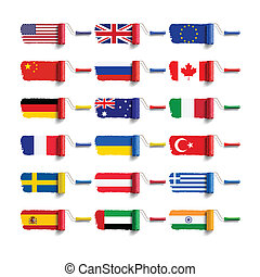 旗, ブラシ, ローラー
