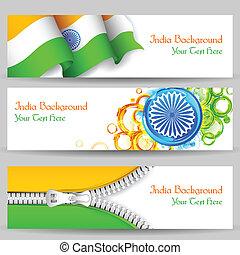 旗, ヘッダー, インド, 祝福