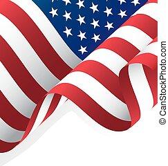旗, ベクトル, アメリカ人, 振ること