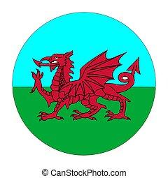 旗, ベクトル, イラスト, イギリス, 赤, ドラゴン, ウェールズ