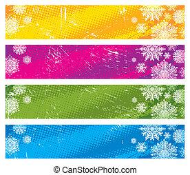 旗, ベクトル, グランジ, 雪片