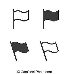 旗, ベクトル, セット, アイコン