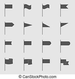 旗, ベクトル, セット, イラスト