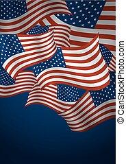旗, ベクトル, デザイン, アメリカ, 背景