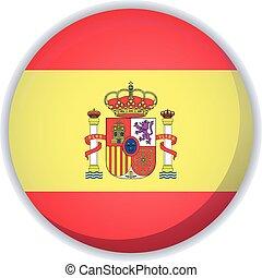 旗, ベクトル, ボタン, スペイン, アイコン