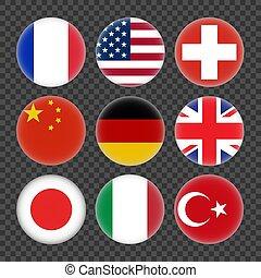 旗, ベクトル, 世界, セット, イラスト, states., ラウンド