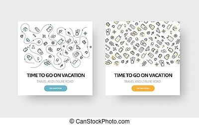 旗, ベクトル, 夏, 旅行, 主題, 休暇, デザイン, 線である, 週末, パターン, icons., 広場