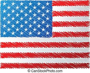 旗, ベクトル, 私達, イラスト