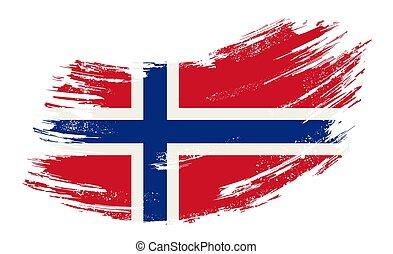 旗, ベクトル, illustration., ノルウェー語, バックグラウンド。, グランジ, ブラシ