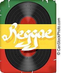 旗, ベクトル, music., レコード, reggae, ポスター, ミュージカル, 有色人種, reggae., イラスト