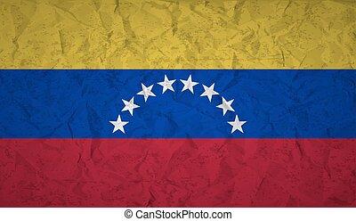 旗, ペーパー, ベネズエラ, 効果, しわくちゃになった, グランジ