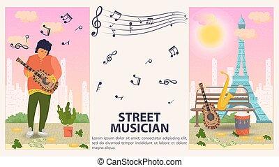 旗, ミュージカル, 人, 平ら, 縦, 2, デザイン, イラスト, ベンチ, ベクトル, 道具, 遊び, 通り, あること, 音楽家, ギター, 漫画