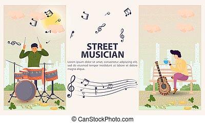旗, モデル, 人, 平ら, 縦, 2, デザイン, イラスト, ベンチ, ドラム, 次に, ベクトル, 遊び, 通りの 音楽家, ギター, 漫画