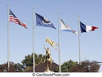 旗, 上に, ジャンヌ・ダルク, 像
