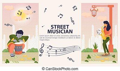 旗, 人, 平ら, 縦, 2, デザイン, イラスト, ベクトル, 遊び, 通り, ドラム, 音楽家, サクソフォーン, 女の子, 漫画