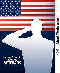旗, 兵士, 軍, ベテラン, 私達, 日, 挨拶, 幸せ