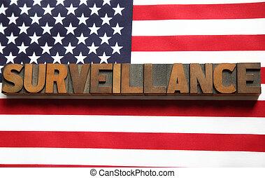 旗, 単語, アメリカ, 監視