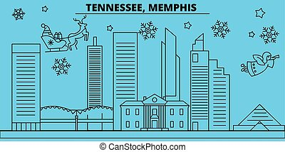 旗, 合併した, 幸せ, メンフィス, クリスマス, クリスマス, ベクトル, 飾られる, 平ら, 新年, skyline., 都市, 州, claus., 陽気, 冬, イラスト, santa, 線である, ホリデー