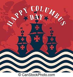 旗, 地図, 幸せ, 船, アメリカ, デザイン, ベクトル, 日, コロンブス