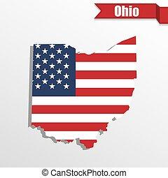 旗, 地図, 私達, リボン, オハイオ州, 中, 州
