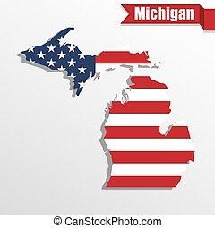 旗, 地図, 私達, リボン, 中, 州, ミシガン州
