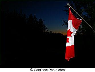 旗, 夕方