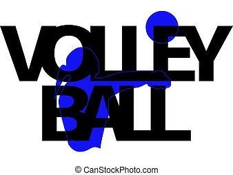 旗, 女の子, ボール, シルエット, バレーボール