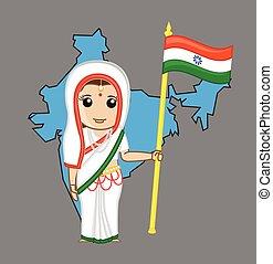 旗, 女, インド, indian, 保有物