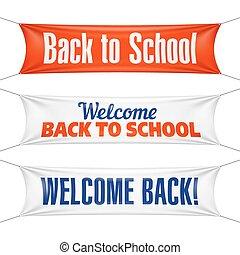 旗, 学校, 歓迎, 背中