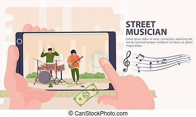 旗, 平ら, 2, イラスト, モビール, ドラム, 撮影された, ベクトル, 遊び, 通りの 音楽家, 電話, ギター, 漫画, 男性