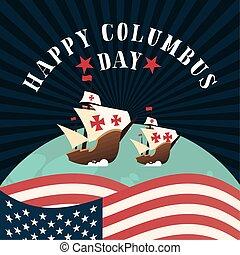 旗, 幸せ, 船, アメリカ, デザイン, ベクトル, 日, 世界, コロンブス
