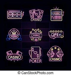 旗, 広告板, 明るい, ギャンブル, ネオン, カジノ, 広告, ライト, 印