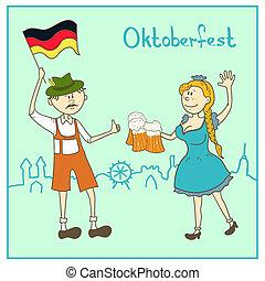 旗, 德國, 啤酒, 女孩, 人