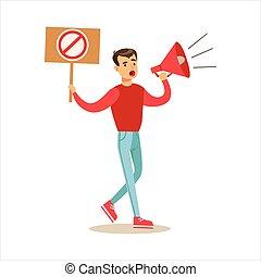 旗, 怒る, 行進, 抗議する, 政治的である, 要求, freedoms, 抗議, メガホン, 叫ぶこと, 人