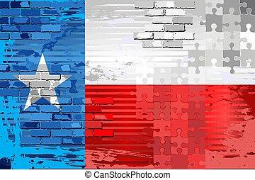 旗, 抽象的, テキサス, グランジ