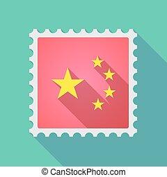 旗, 星, 陶磁器, アイコン, 長い間, 切手, 影, シンボル, 5, メール