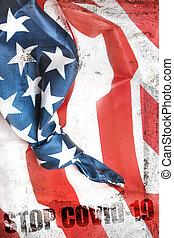 旗, 止まれ, covid-19, アメリカ人, メッセージ